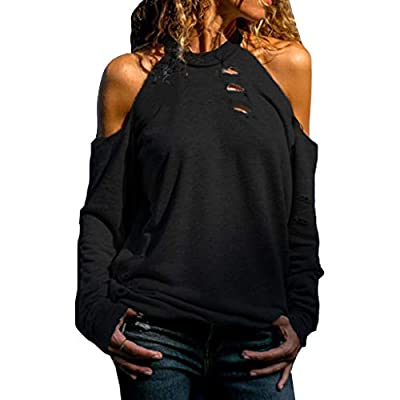 EDC Halter Cold Shoulder Tops for Women Trendy Casual Ripped Long Sleeve Blouse Shirts T Shirt at Women's Clothing store