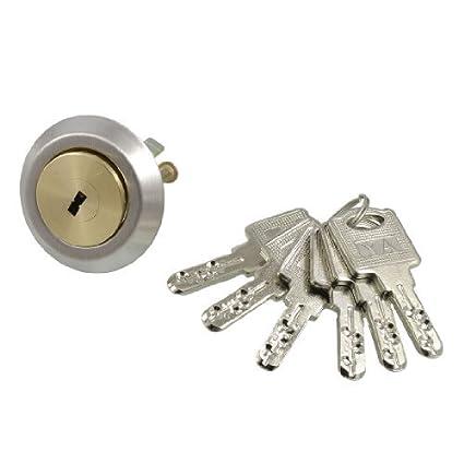 eDealMax tono Oro latón chapado doble tornillo de la tapa de cilindro de cerradura w 6