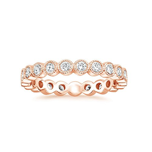 espere Sterling Silver Round Bezel CZ Stack Ring Eternity Bands Promise Rings for Her 18K Rose Gold Plating Size 5 by espere