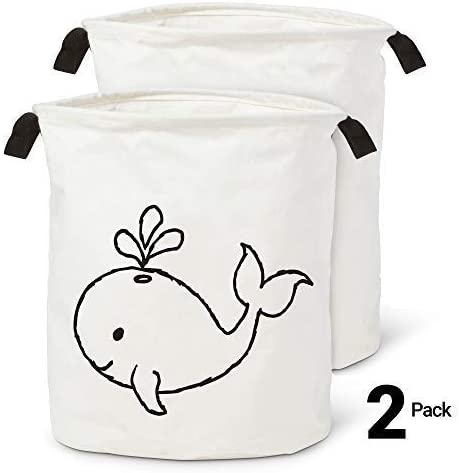 Premium Laundry Basket Hamper - Baby Nursery Blanket Storage - Collapsible Clothes Hampers - Cotton Toy Organizer - Kids Baskets and Organizers - Foldable Towel Bin - Toy Storage - Whale Design