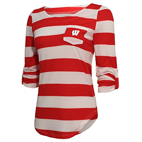NCAA Wisconsin Badgers Women's Campus Specialties Striped 3/4 Sleeve Tee, Red/White, X-Large