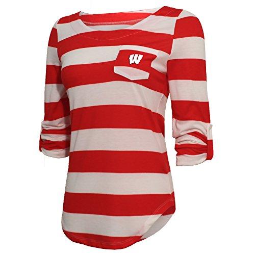 NCAA Wisconsin Badgers Women's Striped 3/4 Sleeve Tee, Medium, (Cincinnati Reds Striped Shirt)