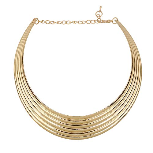 Reliablee Chunky Bib Statement Torque Choker Necklaces. Jewelry Set for Women and Girls. ()