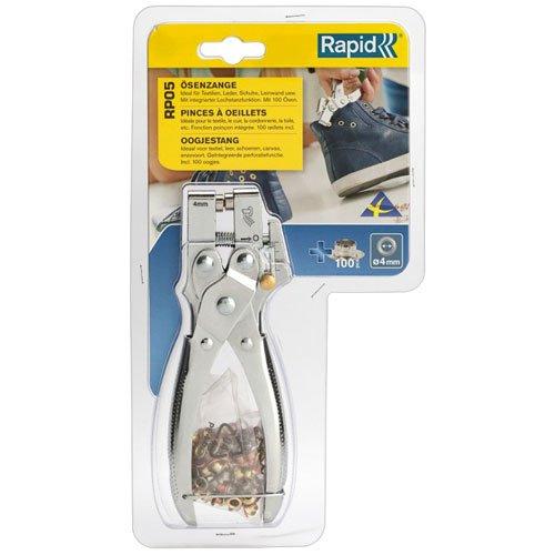 Rapid, 5000407, Pince à œillets, 100 œillets 4mm inclus, Pour un usage professionnel et pour le bricolage, RP05