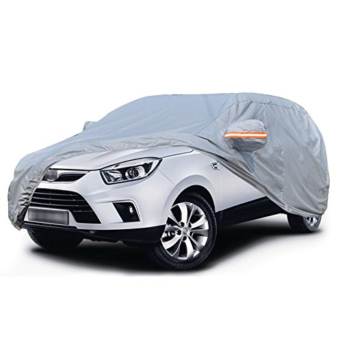 """YITAMOTOR Full Size SUV Car Cover Breathable Universal Fit All Weather Proof-Sun UV Water Snow Dust Wind Protection(Fits up to 189"""",Gray) SUV Covers YITAMOTOR"""