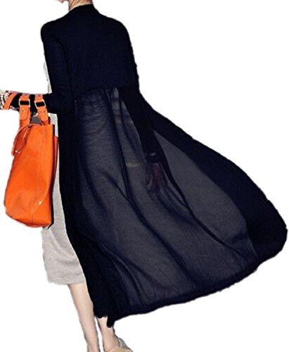 [エムズ ミミ] カーディガン ロング レース 切り替え シフォン マキシ ボレロ 羽織り 4色展開 100-110cm