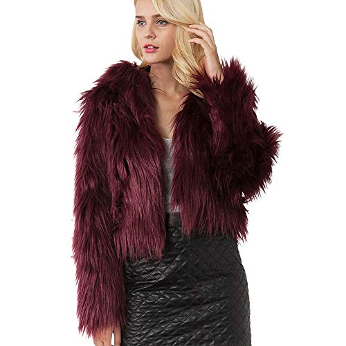 Women Winter Warm Faux Fur Artificial Coat Jacket Moonuy Ladies Warm Coat Jacket Gradient Color Parka Elegant Cardigans Windbreaker Hooded Top Oversized Jackets Warm Autumn Winter Wine Red