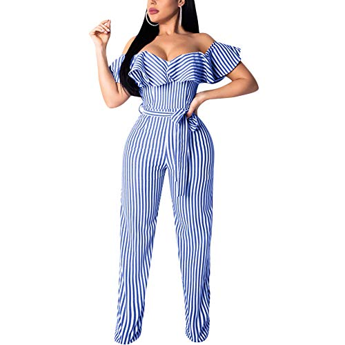 Aro Lora Women's Sexy Off Shoulder Stripe Print Wide Leg Jumpsuits Rompers Medium - Stripe Jumpsuit