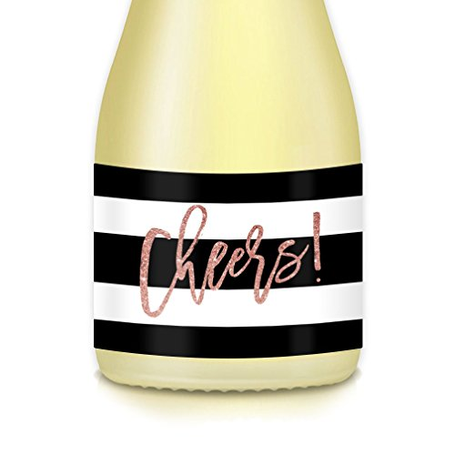Set of 20 Mini Champagne & Mini Wine Bottle Labels, Pink Glittering CHEERS! Celebrate College Graduate, Sweet Sixteen Birthday, Quinceañera, Bat Mitzvah, Engagement, All Occasion 3.5