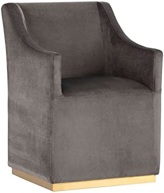 Sunpan Modern Brushed Brass Pimlico Fabric Zane Wheeled Lounge Chair Pebble Pebble