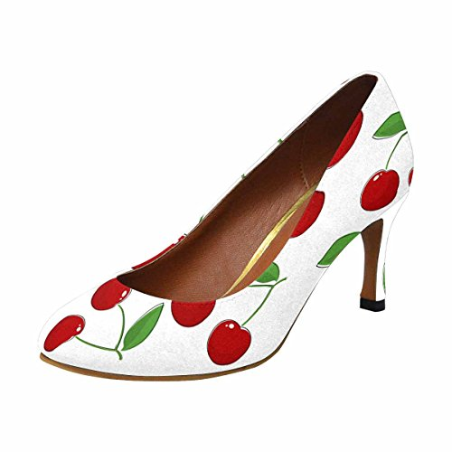InterestPrint Womens Classic Fashion High Heel Dress Pump Cherry, Fruit Pattern, Prunus Avium