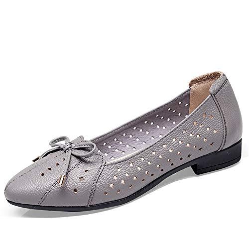 FLYRCX Las señoras de la Moda Informal cómodo de Cuero Suave Trabajo Inferior Zapatos de Las Mujeres Embarazadas Zapatos Huecos Solos Sandalias Grises, 35 UE 36 EU