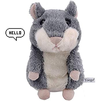 Yoego Talking Toy, Plush Hamster Cute Sound Effects with Repeats What You Say Educational Talking Hamster Toy,Best Buddy for Kids Age 3+ (Gray)