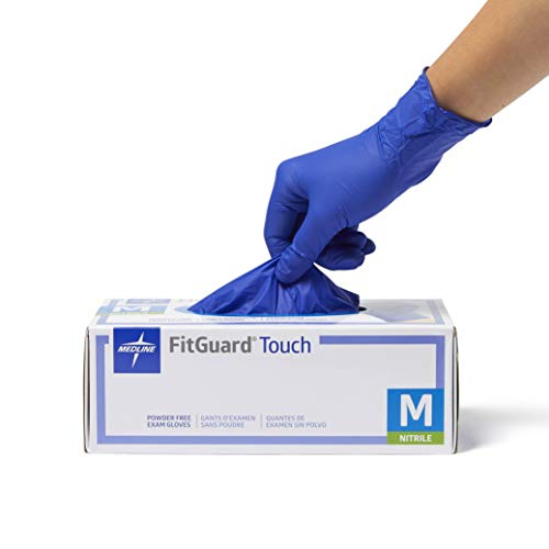 Medline FitGuard Touch Nitrile, Latex Free, Powder Free, Exam Gloves, Blue, Large (100 Count)
