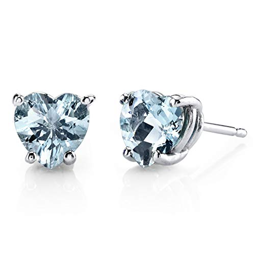 14 Karat White Gold Heart Shape 1.50 Carats Aquamarine Stud Earrings