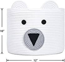 D Bear Basket Clothes in Bedroom Toy Storage Bin for Kids Baby Nursery & Living Room Woven Laundry Hamper 10 Cotton Rope Basket H x 12