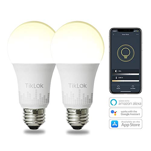 Smart LED Bulb WiFi Tunable Light Bulb Works with Alexa Google Home and Siri, TIKLOK A19 E26 60W Equivalent, with Schedule Function Hub Free, 2 Pack
