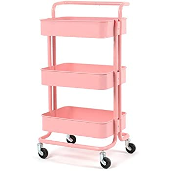 cuafid metal utility cart rolling cart with wheels 3 tier storage rolling shelf. Black Bedroom Furniture Sets. Home Design Ideas