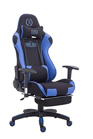 CLP Silla Gaming Turbo Tapizado de Tela I Silla Gamer Giratoria I Silla Racing Regulable en Altura I Silla Oficina con Reposapiés I Color: Negro/Azul: ...