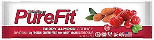 PureFit Berry Almond Crunch Premium Nutrition Bars, 15 Count | 18G Protein, Performance Enhancement & Energy Bar - Gluten Free, Dairy Free, Low Carb, Vegan