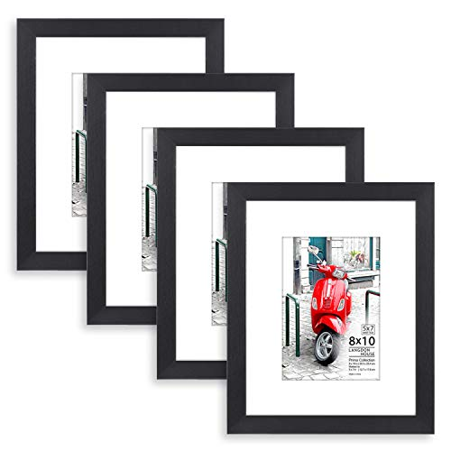 Langdons 8x10 Picture Frame (4 Pack, Black) 8 x 10 Photo Frame with Mat for 5x7 Picture, Sturdy Wood Composite, Wall Mount Hooks Included with Black Picture Frames, Prima Collection (Picture Frames 5x7 Matted)