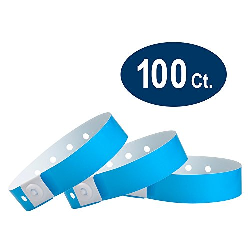 WristCo Neon Blue Plastic Wristbands - 100 Pack Wristbands for Events -