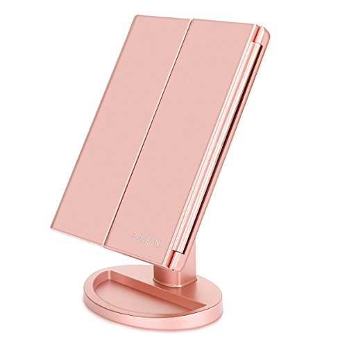 Newest 36 LED Nature Daylight Tri-Fold Lighted Vanity Makeup Mirror with Touch Screen Dimming and 3X/2X/1X Magnification Mirror, 180 Degree free Rotation, Countertop Cosmetic Mirror (Rose Gold)