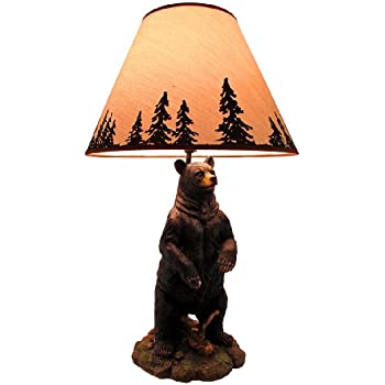 Resin Table Lamps Standing Grizzly Bear Table Lamp W/Silhouette Shade 8 X  24 X