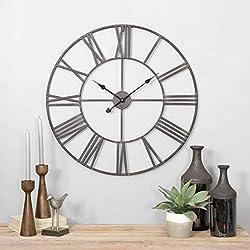 Round Metal Wall Clock Grey Farmhouse Modern Contemporary