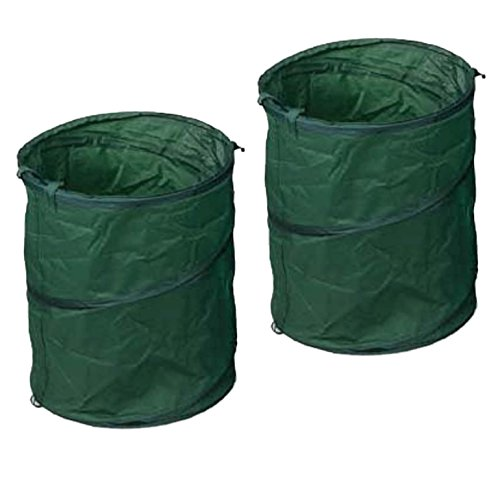2 Piece Set 25 Gallon Reusable Pop Up Lawn & Garden Trash Leaf Bag by WPI