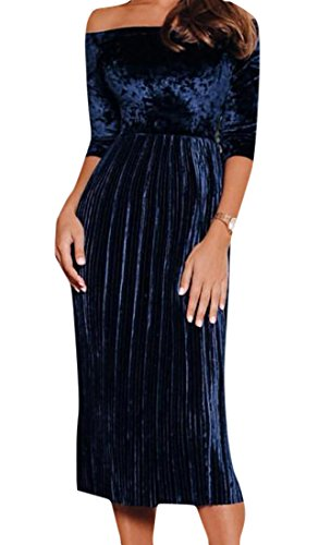 Navy Womens Off Party Elegant Velour Shoulder Cromoncent Blue Dress Pleated Midi zdq4x4n