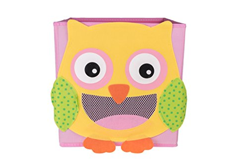 Cute Smiling Owl Collapsible Toy Storage Organizer by Clever Creations | Toy Box Folding Storage Cube for Kids Bedroom | Perfect Size Storage Cube for Books, Kids Toys, Baby Toys, - Maui A Brand Jim Is Good