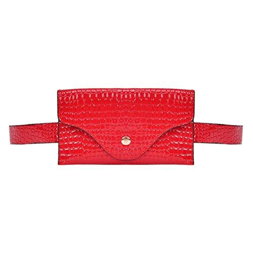 FINIFLY 2018 new Classic Women Stone Pattern PU Waist Pack Pouch Purse Casual Belt Bag/Red