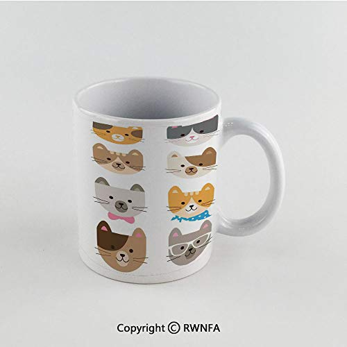(11oz Unique Present Mother Day Personalized Gifts Coffee Mug Tea Cup White Kids,Cats Costume with Glasses Bow Tie Bandanna Cartoon Art Craft Pattern Print Pets Animal Lovers Print Decorative, Funny)
