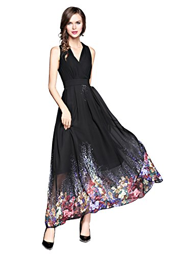 Joy EnvyLand Women's V-Neck Flower Chiffon Wedding Formal Prom Beach Maxi (Garden Party Dress)