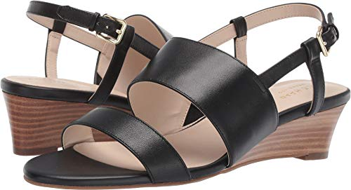 Cole Haan Women's Annabel Grand Wedge Sandal Black Leather 6 B US