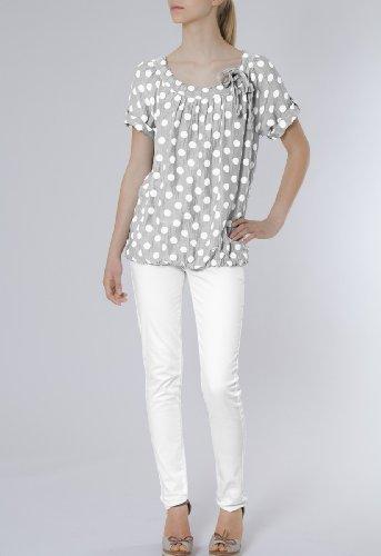 Gris blancs plusieurs lgre femme coloris pour soie Clair avec points Blouse BLU001 CASPAR en Sn8Txw7z