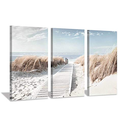Hardy Gallery Beach Scene Picture Coastal Print: Oceanside Sea Grass Trail Artwork Painting on Canvas for Office(26''x16''x3pcs)