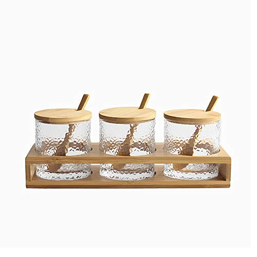 Optional Spice Rack - Jomop 3 Bottles/Set Bamboo Lid Condiment Pot Seasoning Bottle Glass Kitchen Supplies Spice Rack Salt and Pepper Jar Container (Bamboo)