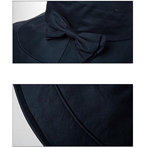 Wide Upf50 Blue Plegable Verano Hat Playa Sun Cap Mujeres Multicolor Cubo Brim Bowknot ARw8qvZ