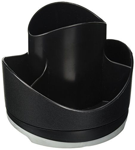 Storex 70115B06C Iceland Rotary Recycled Organizer, Black Top with Gray (Gray Top Black Base)