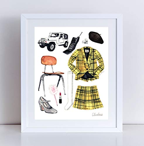Clueless Movie Giclee Art Print Watercolor Painting Wall Home Decor Cher Horowitz Costume 90's Style Nostalgia California Yellow Plaid Suit Alicia Silverstone Ugh As If Canvas]()