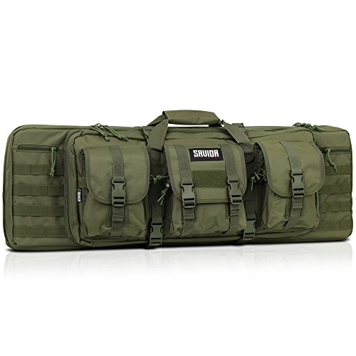 Savior Equipment American Classic Tactical Double Long Rifle Pistol Gun Bag Firearm Transportation Case w/Backpack - 36 Inch Olive Drab Green