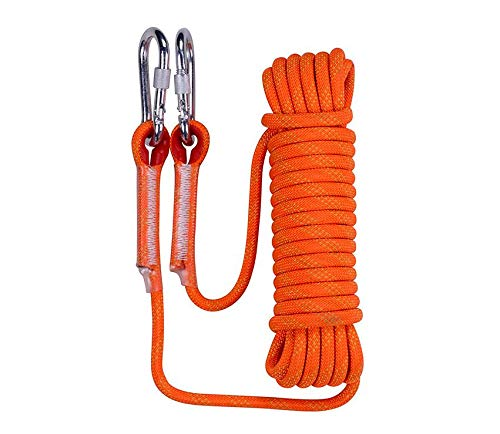 ASEEBY Static Outdoor Climbing Rope 10mm Diameter Durable Nylon Rope Safety Rappelling Rope High Strength Cord Rope 20m (Orange) ()