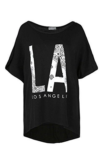 Oops Outlet la Impresión de grandes apagado hombro Bardot Baggy Lagenlook Batwing Top LA Los Ángeles Negro