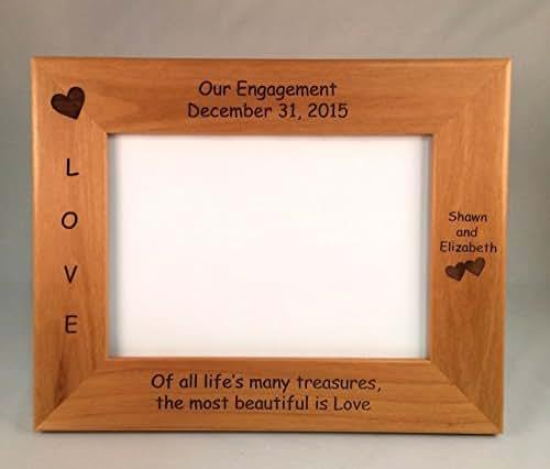 Amazon.com: Engagement Laser Engraved Personalized 5 x 7 Photo Frame ...