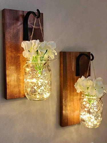 Decor Jar (Farmhouse Hanging Mason Jar Wall Sconce With LED String Lights - White Hydrangea - Wrought Iron Hook (Set of 2) Handmade In The USA! - Rustic Farmhouse Mason Jar Decor)