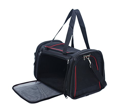 Captain Pet Foldable Airline Approved Pet Carrier Soft Sided Animal Travel Bag with Fleece (Sided Fleece Mat)