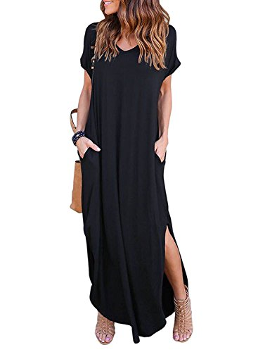 Amstt Women's Casual Beach Dress Pocket Long Dress Short Sleeve Split Loose Maxi Dress