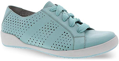 (Dansko Women's Orli Leather Lace Up Sneakers (Aqua Nappa,38 EU/7.5-8 M US))